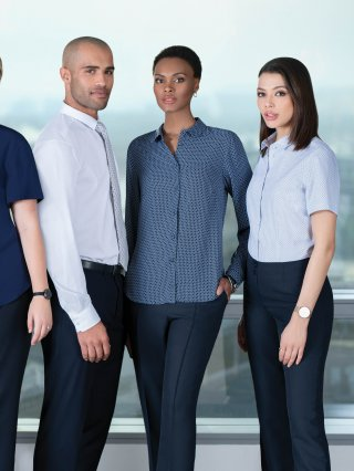 Greek Navy Suiting with Imperial  blouses and Liberty cotton shirts.