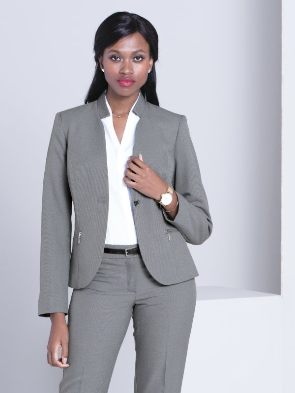 Long Sleeve, short fitted blazer with zip pocket detail. Approx. 60cm centre back length.