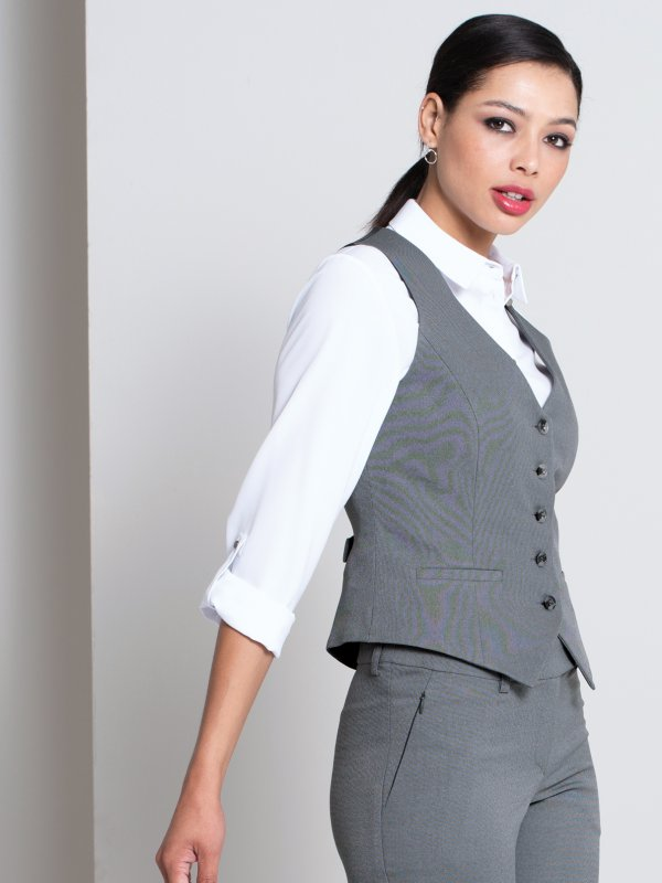 Fitted waistcoat, with the back in lining material , tie buckle, lined.