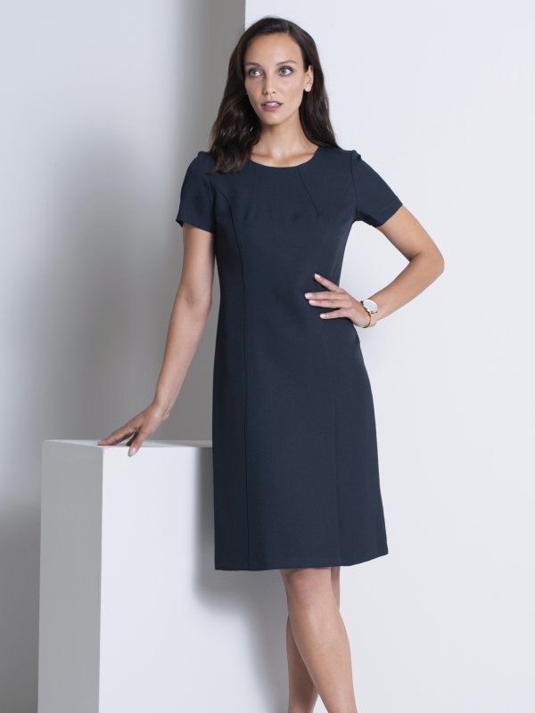 Fitted A-Line , lined short sleeve dress. Approx. 98cm centre back length. Please note leather belts are not included.