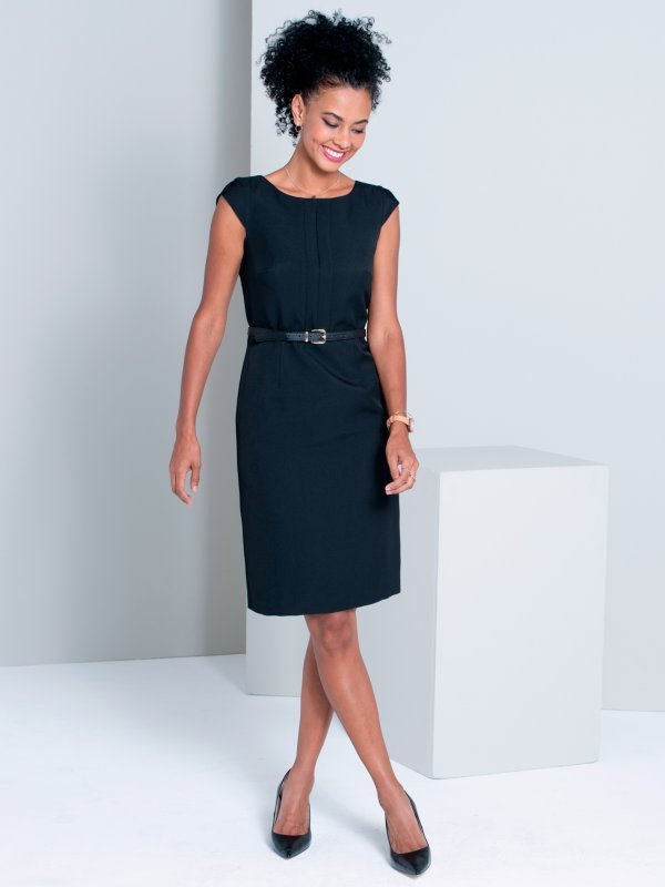 Fitted Garment, Pleated Bodice , shift dress, belt not included