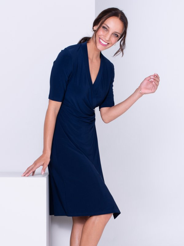 Classic Fit, elbow sleeved wrap dress. Approx. 105cm in length