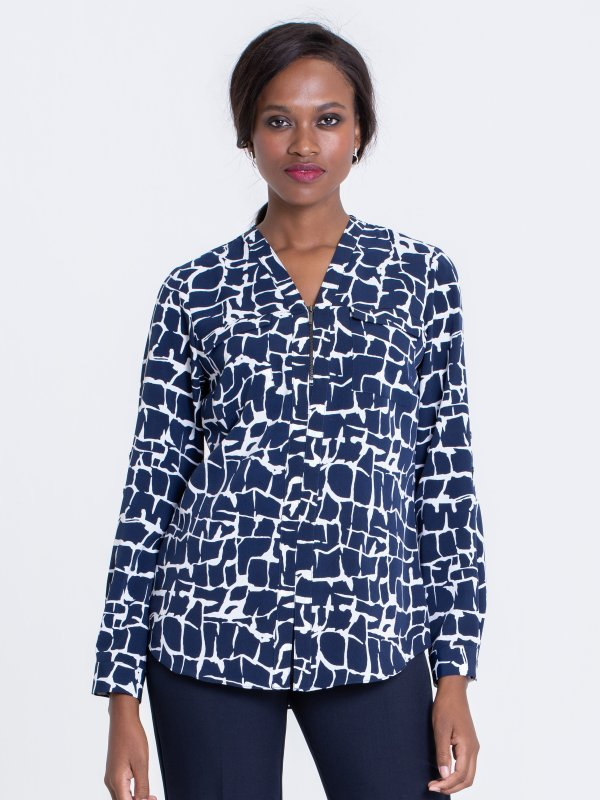 Relaxed , Long Sleeve adjustable Sleeve Blouse, Zip Front