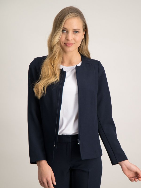 Long sleeve jacket with zip front, unlined