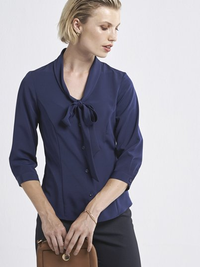 Classic 3/4 sleeve blouse with fashion bow collar. Approx. 64cm centre back length.