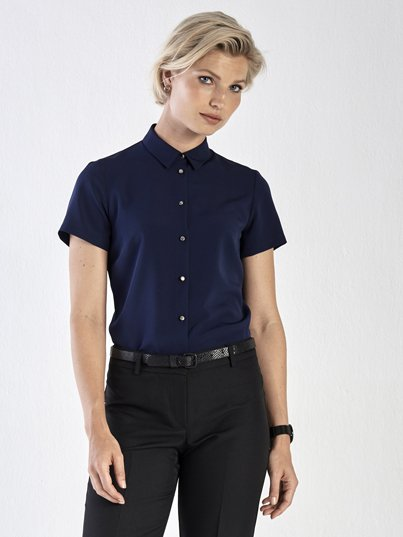 Classic fit, short sleeve blouse with metal shank button detail. Approx 65cm Centre Back Length.