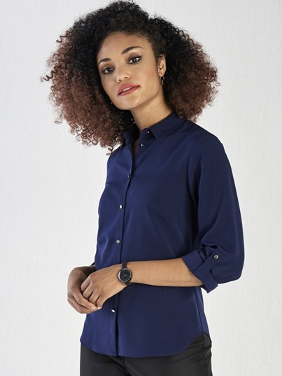 Classic Long Sleeve Blouse with metal buttons and adjustable tab on the sleeve.  Approx. 65cm centre back length.