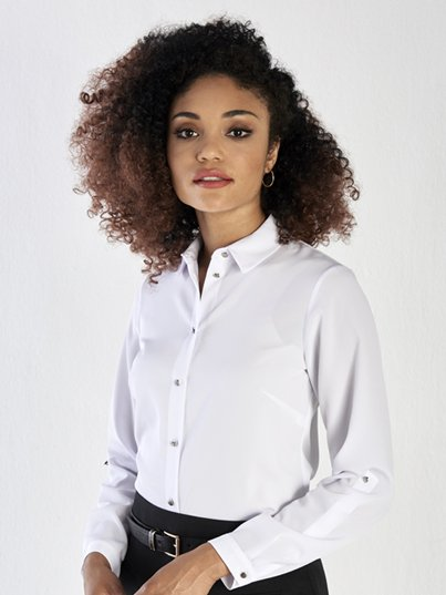 Long Sleeve, Basic Blouse with roll up tab sleeves