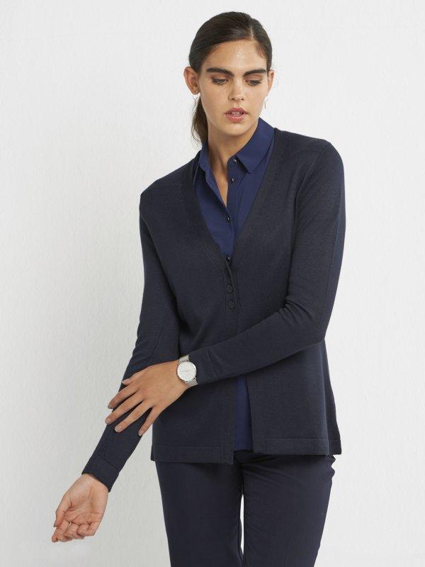 Classic Long Sleeve, V-neck Hip Length Cardigan