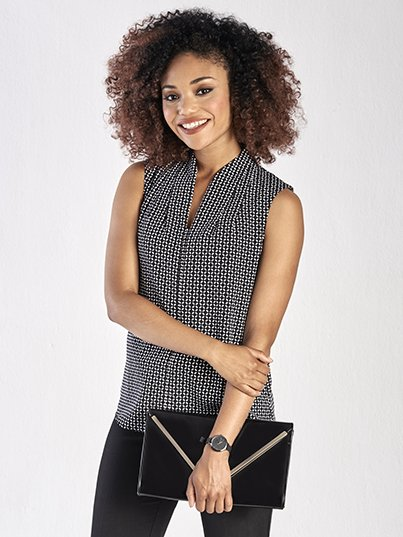 Classic Fit Sleeveless Blouse, Pleat Neck Detail