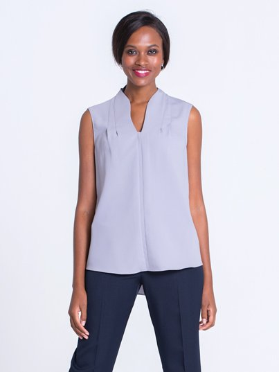 Classic Fit Sleeveless Blouse, Pleat Neck Detail. Approx 70cm centre back
