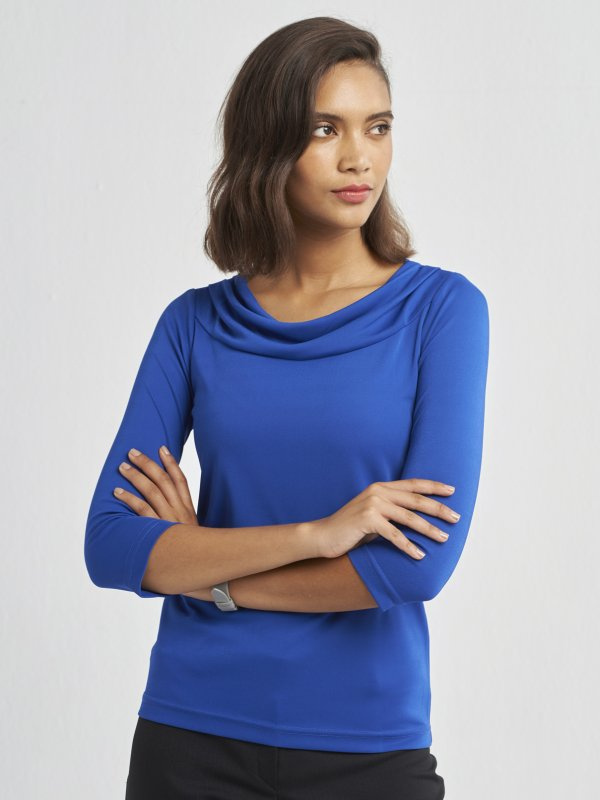 100% Polyester 3/4 Sleeve Cowl Neck Knitted Top