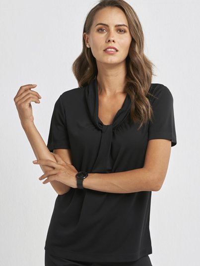 100% Polyester Short Sleeve, Knotted Front Knit Top