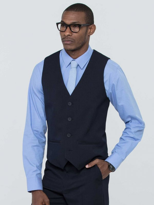 Fitted waistcoat, adjustable back buckle, lined.