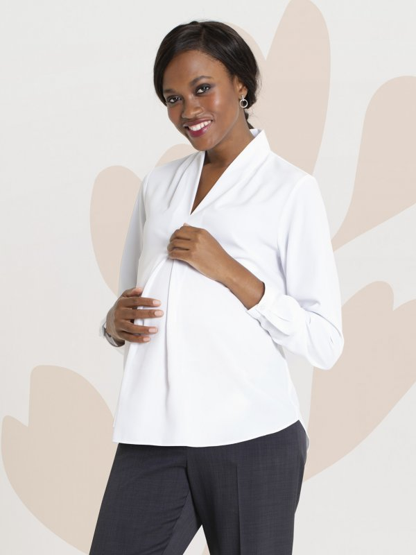 Long sleeve maternity blouse with longer front pleat to allow for your belly to grow. Approx. 68cm in length