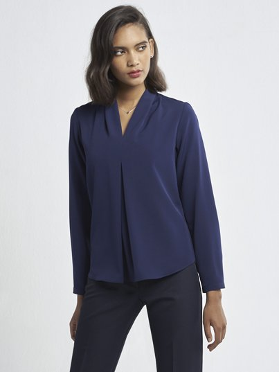 Relaxed Fit, Long Sleeve , drape front blouse. Approx. 71cm centre back