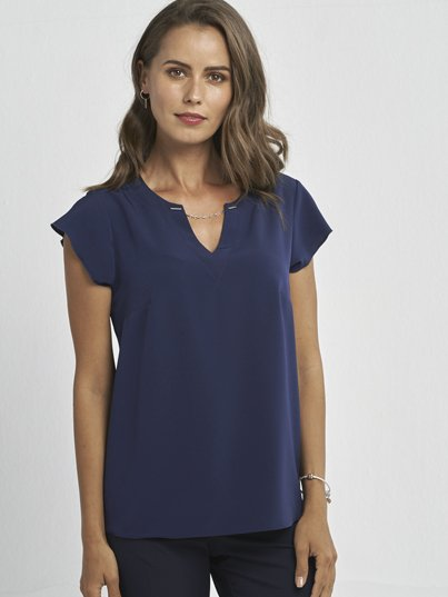 Classic Fit, Cap Sleeve Blouse with Chain neck detail. Approx. 62cm Centre Back Length.