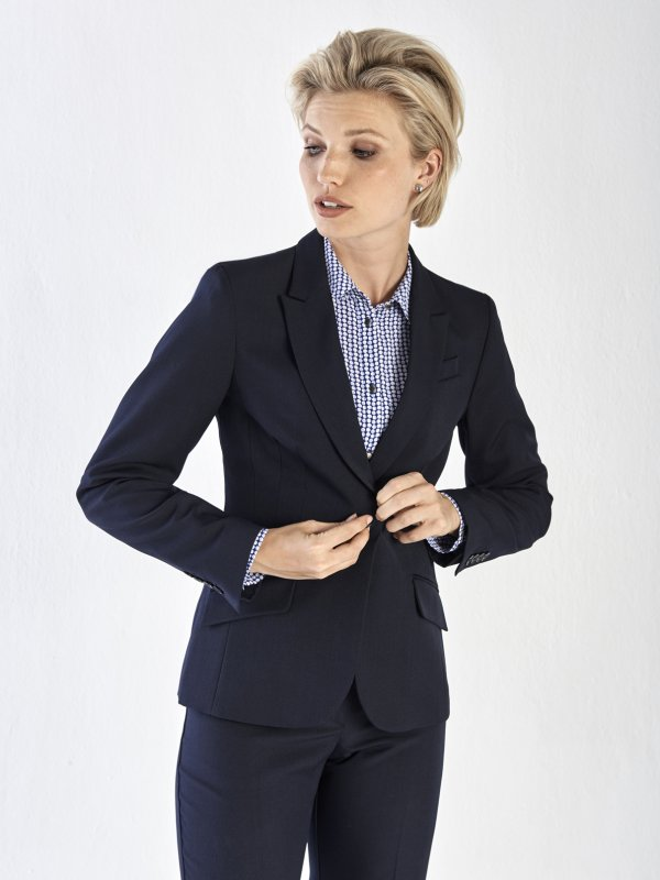 Fitted, Long Sleeve Jacket with flaps.  Approx. 65cm centre back length.