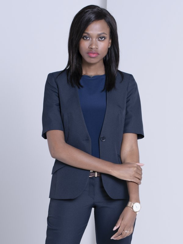Classic, short sleeve, collarless jacket