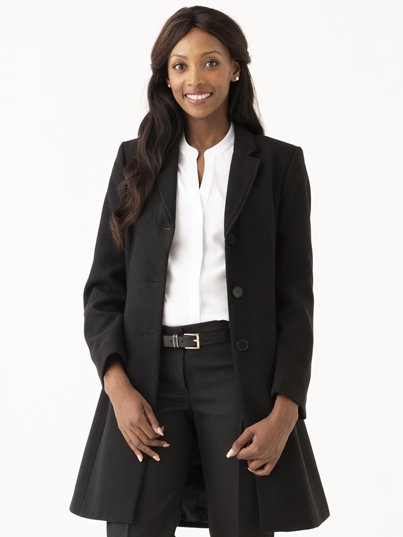 Long Sleeve Melton Coat, with Revere Collar and Inseam Pockets Approx. 92cm in length