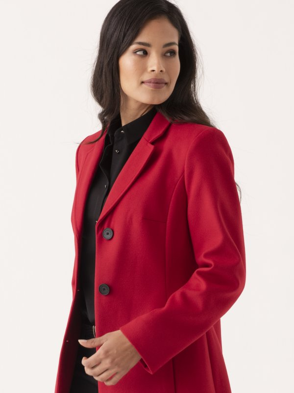 Long Sleeve Melton Coat, with Revere Collar and Inseam Pockets