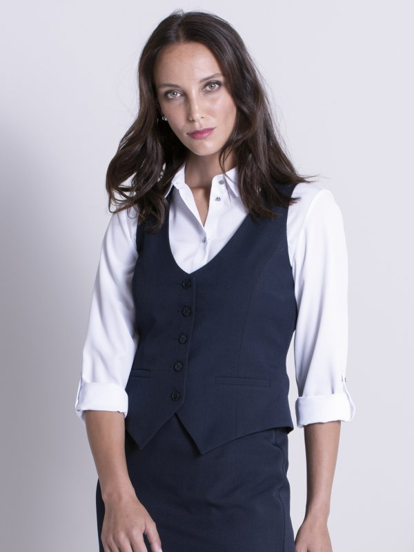 Fitted waistcoat, with the back in lining material , tie buckle, lined. Approx. 50cm centre back length.
