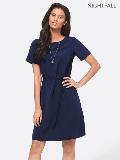 Classic short sleeved , unlined shift dress. Approx. 93cm from centre back length. Please note leather belts are not included.   Sale items as per colour swatch selected, image for style purposes only not colour