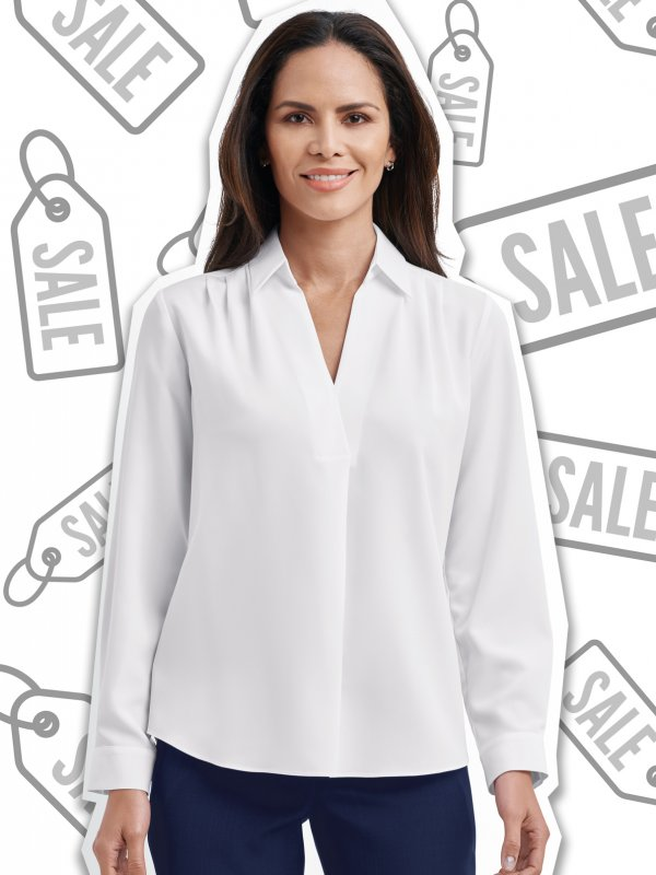 Classic fit, long sleeve blouse with front pleat detail.