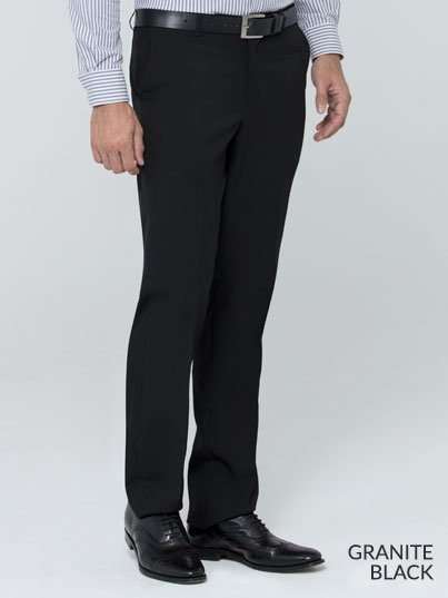 Fitted , slim fit pants with a flat front and back pockets.