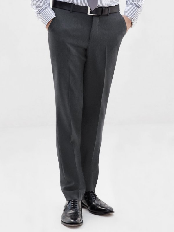 Men's pants with front pleats and back pocket.  Approx. 84cm inside length.