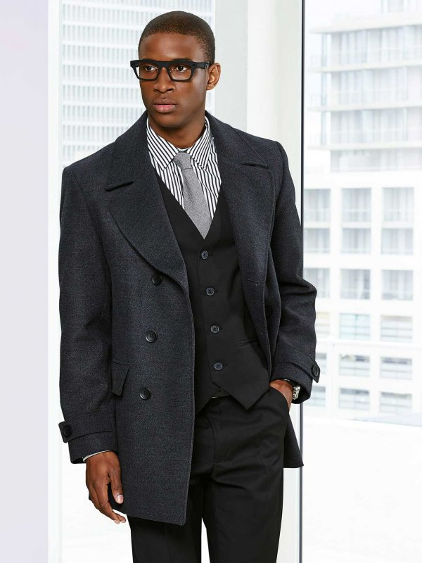 Long Sleeve Classic, Double Breasted Pea Coat. Fully Lined. Approx. 85cm centre back