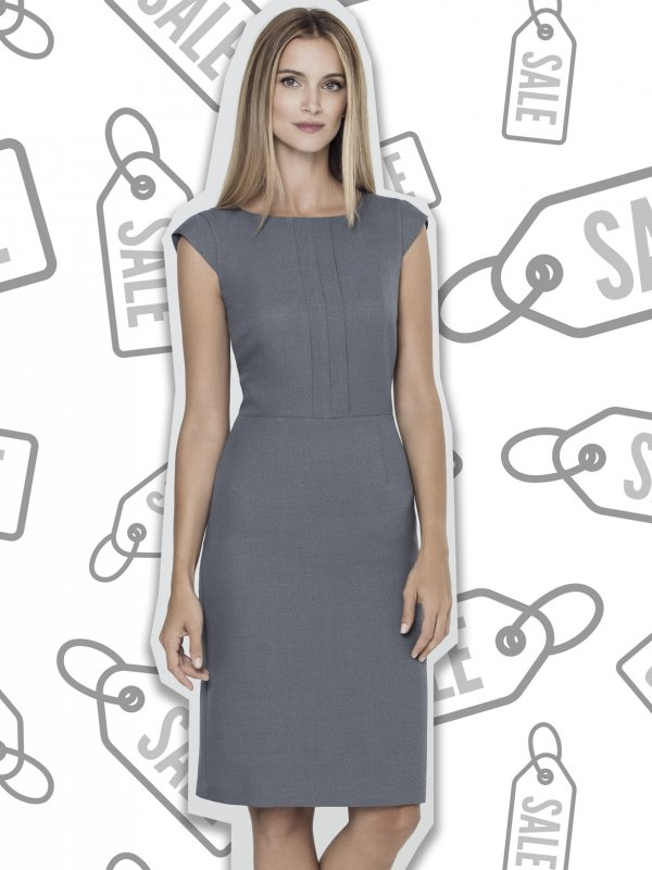 Fitted Garment, Pleated Bodice , shift dress.  Approx. 97cm centre back length. Please note leather belts are not included.