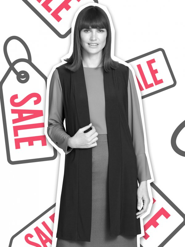 Sleeveless Longline knit Gilet.  The product image for style reference only not colour