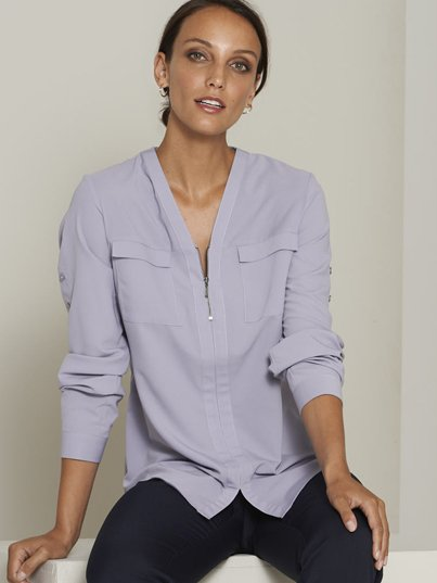 Relaxed , Long Sleeve adjustable Sleeve Blouse, Zip Front. Approx. 71cm Centre Back Length.