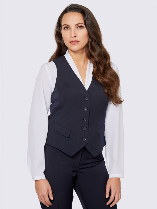 Fitted waistcoat, with front flaps and back belt detail. Approx. 50cm centre back length.