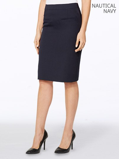 Fitted Knee length  pencil skirt with front mock jet pockets.  Approx. 60cm in length
