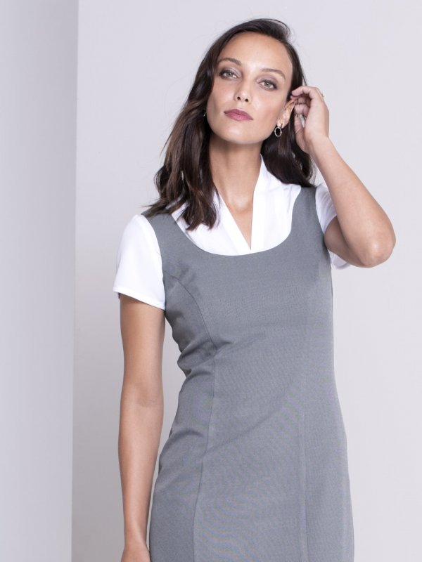 Lined, paneled dress, belt not included